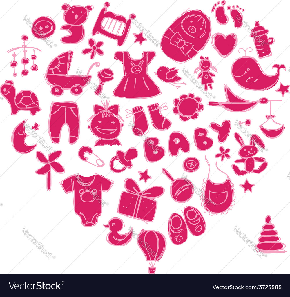 Heart shape design with toys for baby girl vector | Price: 1 Credit (USD $1)