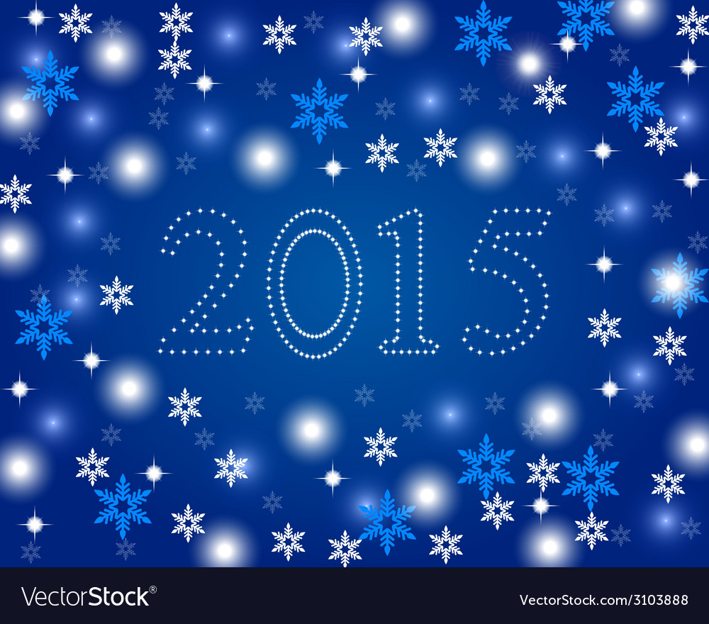 New year 2015 on a blue background with snowflakes vector | Price: 1 Credit (USD $1)