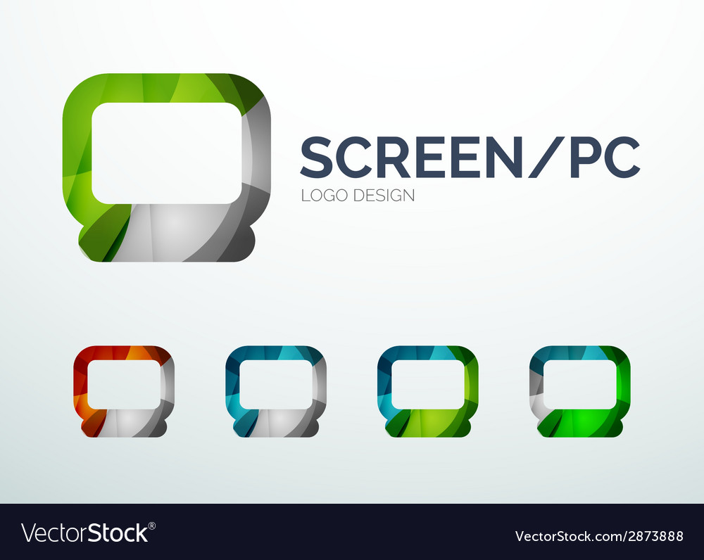 Pc screen logo design made of color pieces vector | Price: 1 Credit (USD $1)
