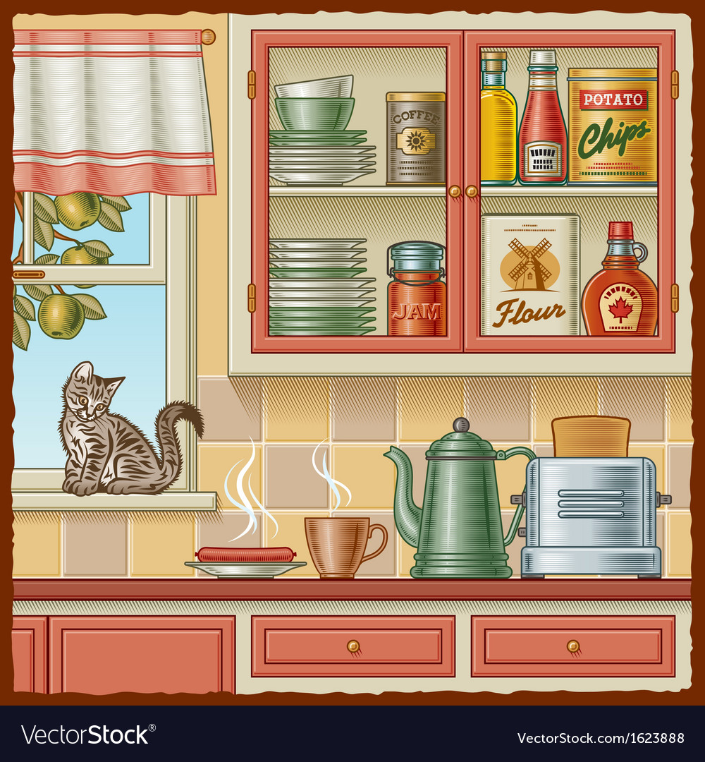 Retro kitchen vector | Price: 3 Credit (USD $3)