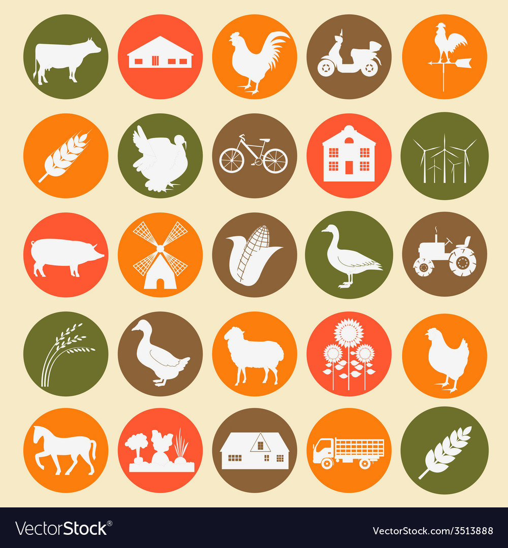 Set agriculture animal husbandry icons vector | Price: 1 Credit (USD $1)