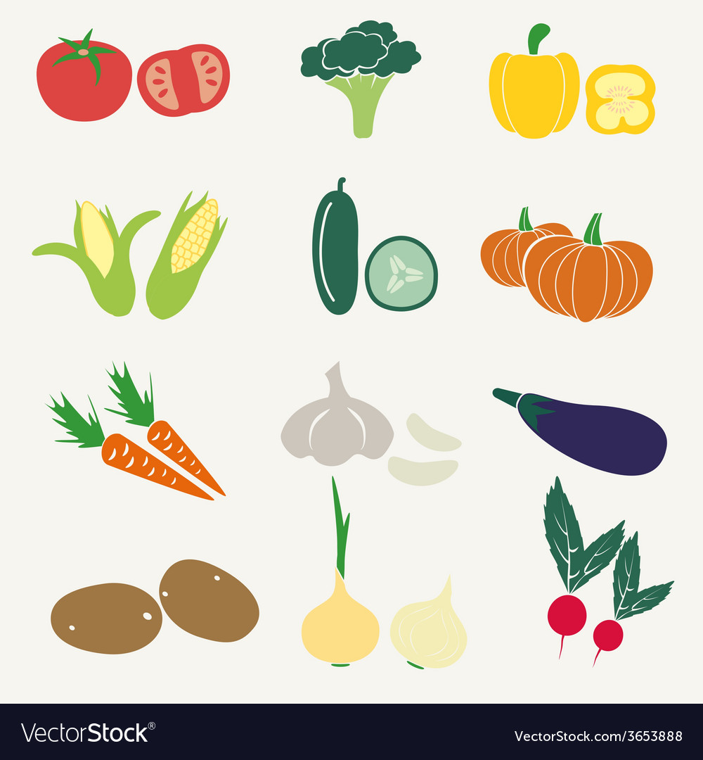 Set of color simple vegetables icons eps10 vector | Price: 1 Credit (USD $1)