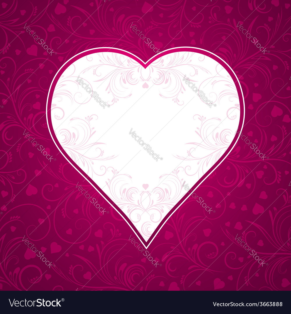 Valentine pink background with big heart vector | Price: 1 Credit (USD $1)