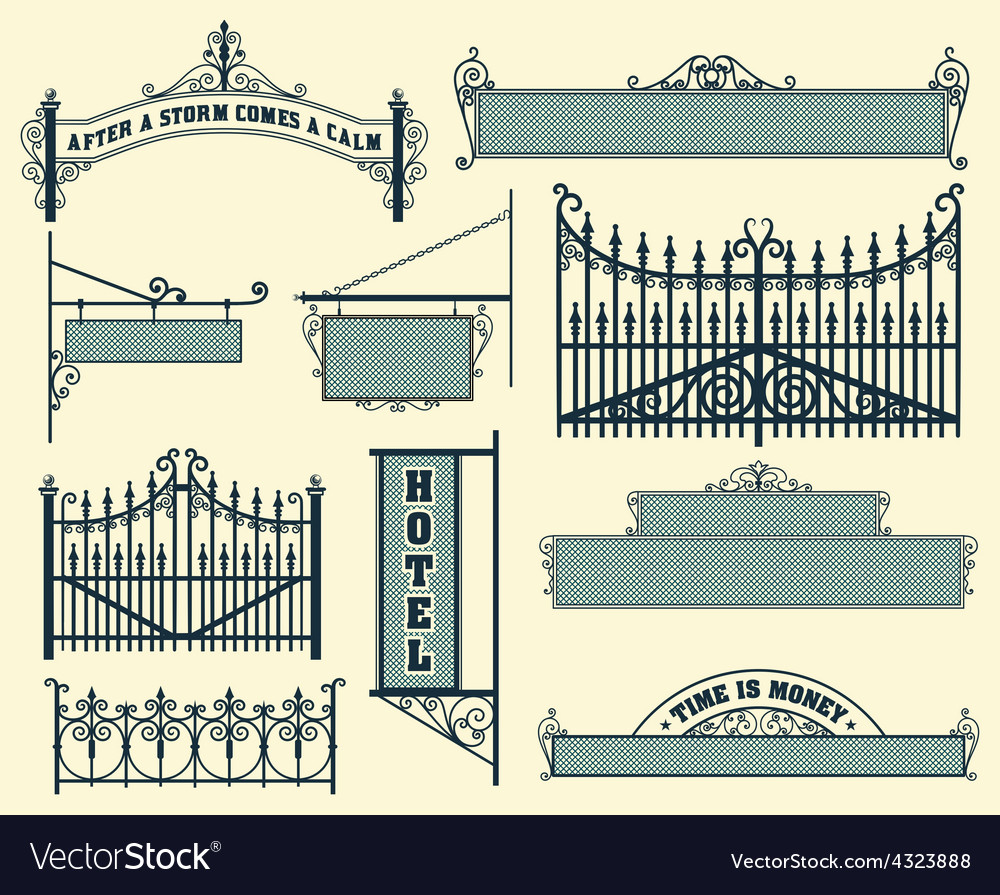 Wrought iron wicket fence and gates grilles vector | Price: 1 Credit (USD $1)
