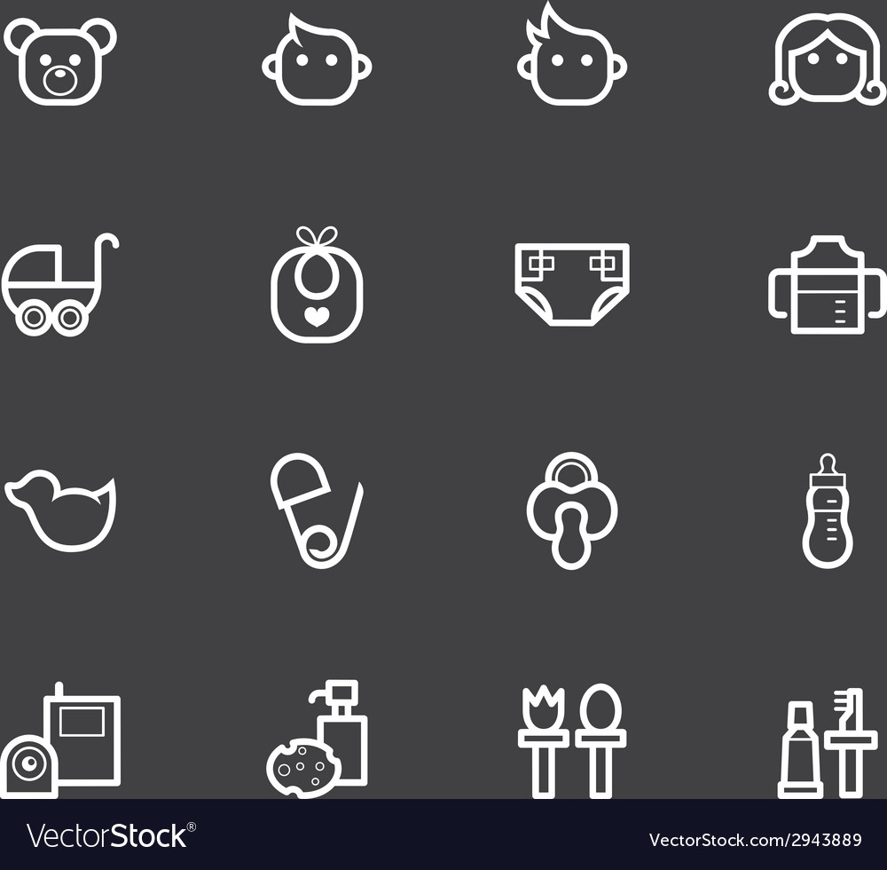 Baby stuff element white icon set1 vector | Price: 1 Credit (USD $1)