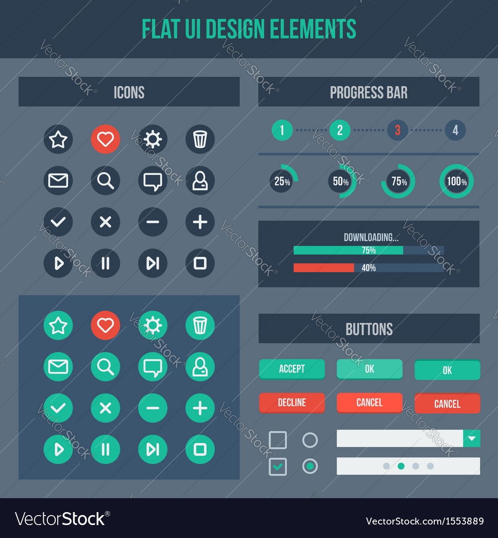 Flat ui basic design elements set vector | Price: 1 Credit (USD $1)