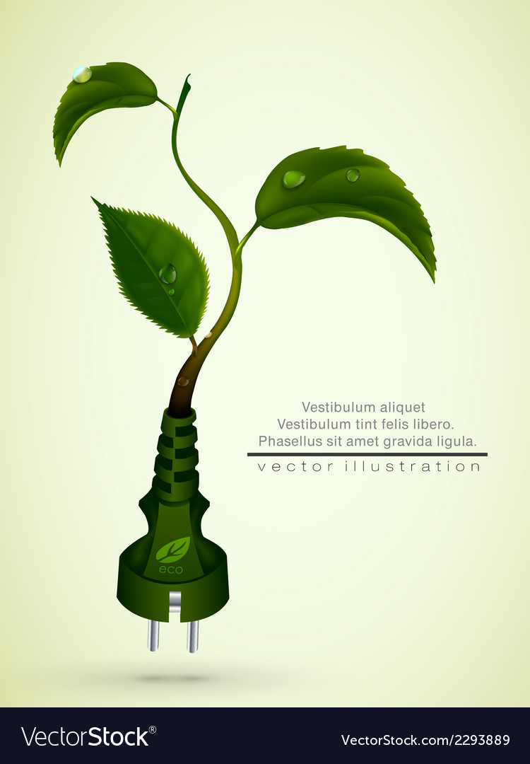 Green plug with leaves and planet vector | Price: 1 Credit (USD $1)