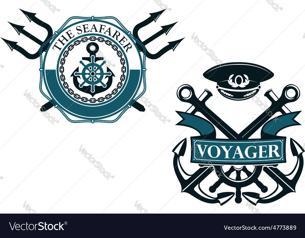 Retro voyager and seafarer nautical badges vector | Price: 1 Credit (USD $1)