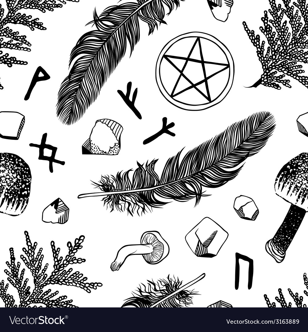 Seamless pattern with ritual things black contour vector | Price: 1 Credit (USD $1)