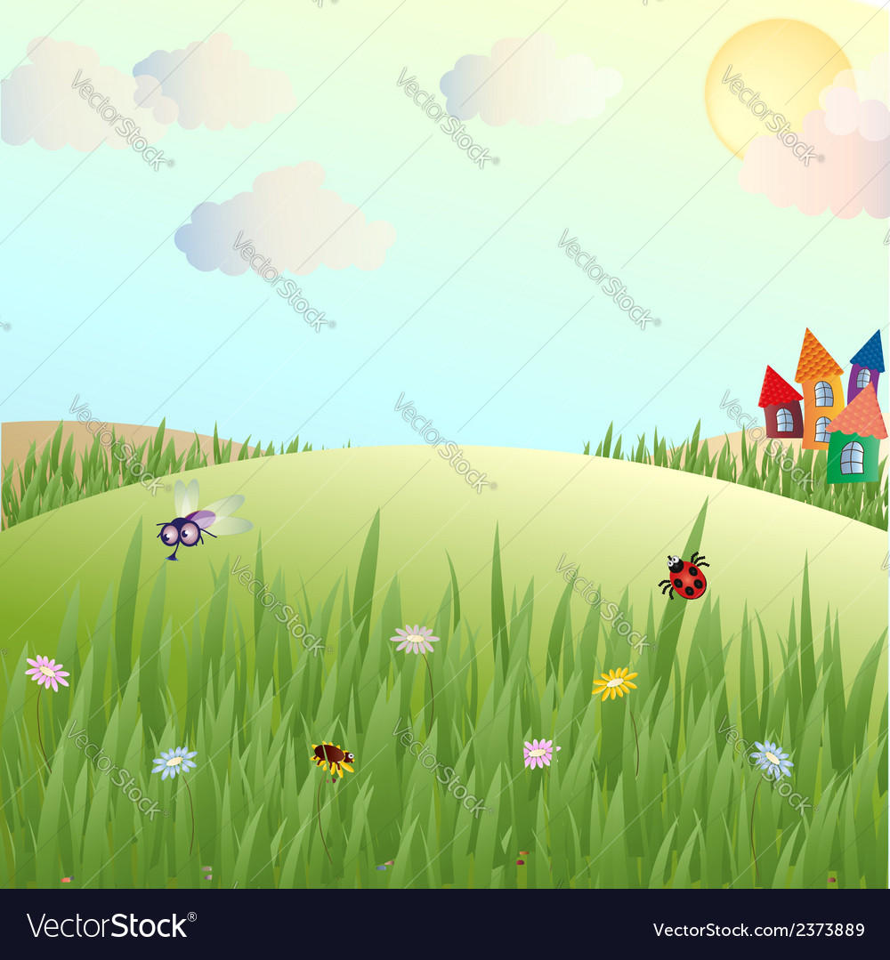 Summer glade lodges and insects vector | Price: 1 Credit (USD $1)