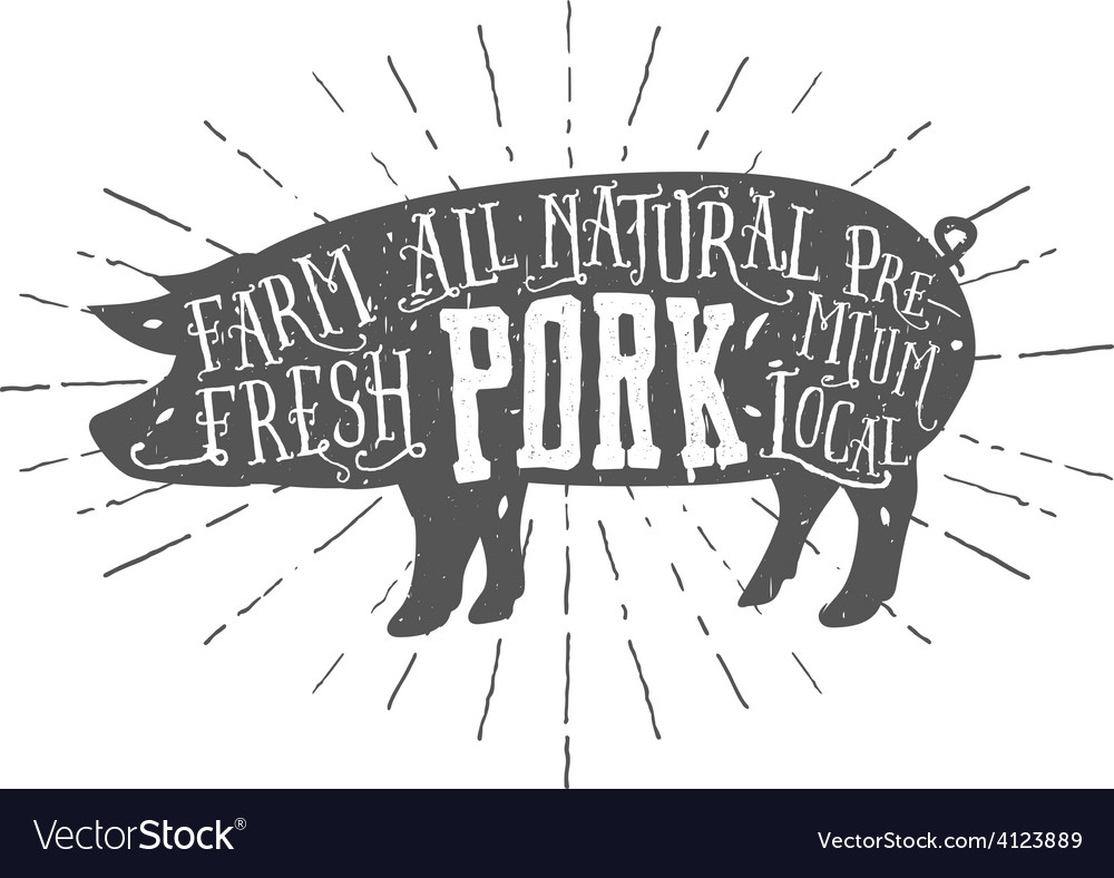 Vintage typographic premium pork meat label vector | Price: 1 Credit (USD $1)