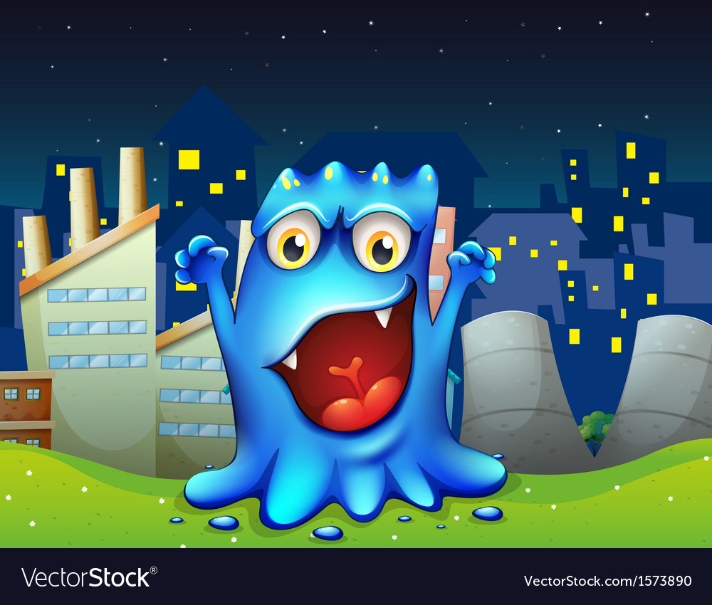 A happy blue monster in the city vector | Price: 3 Credit (USD $3)
