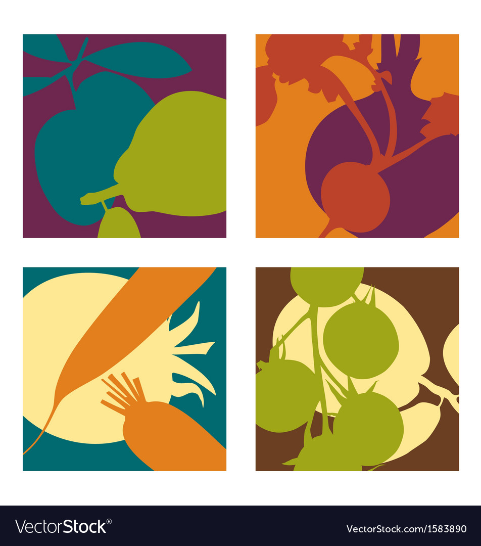 Abstract vegetable designs set 2 vector | Price: 1 Credit (USD $1)