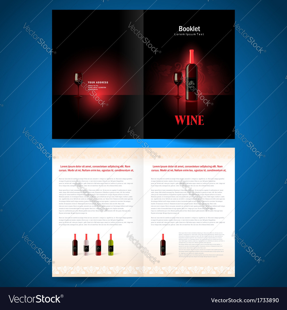 Booklet catalog brochure folder wine red vine vector | Price: 1 Credit (USD $1)