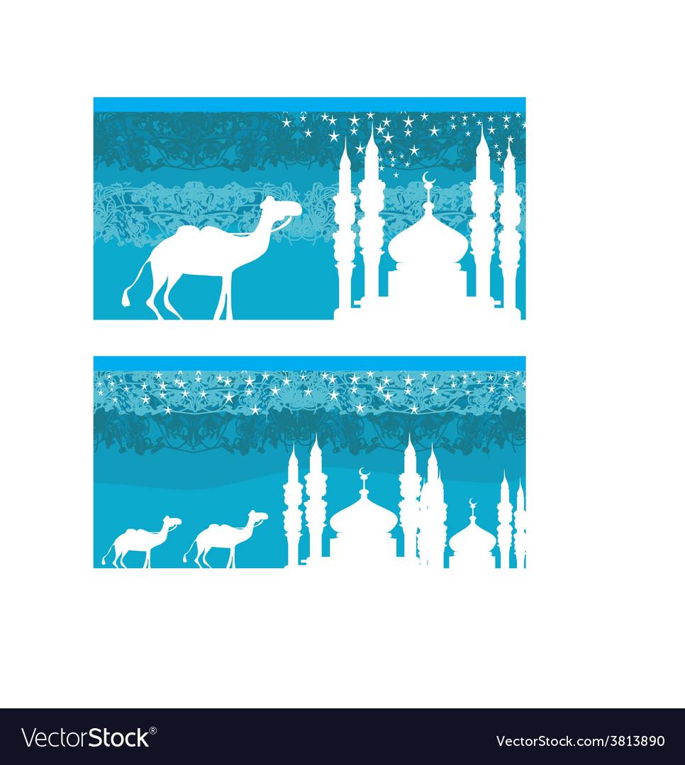 Camel through desert with arab skyline views vector | Price: 1 Credit (USD $1)