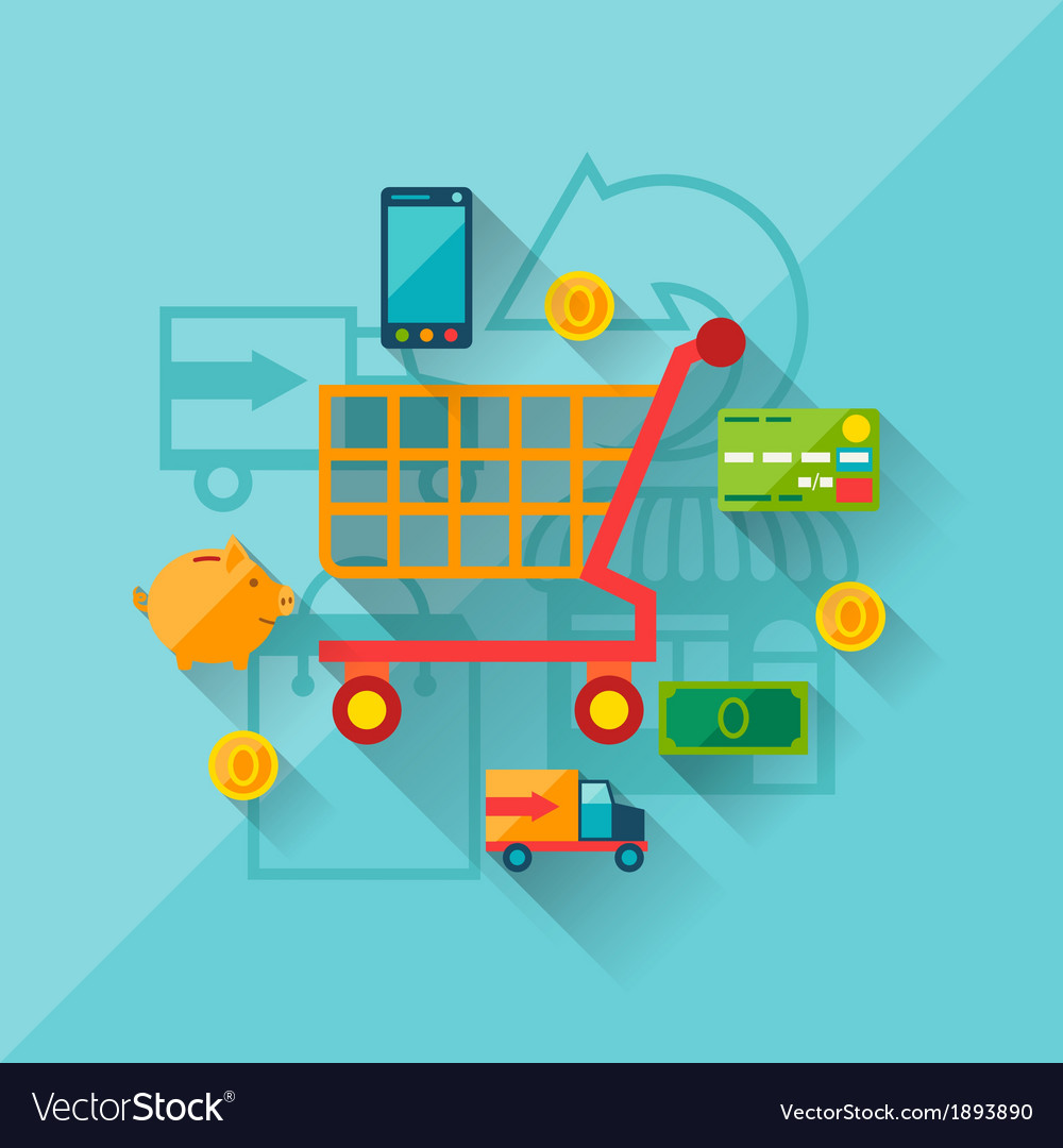 Concept of internet shopping in flat design style vector | Price: 1 Credit (USD $1)