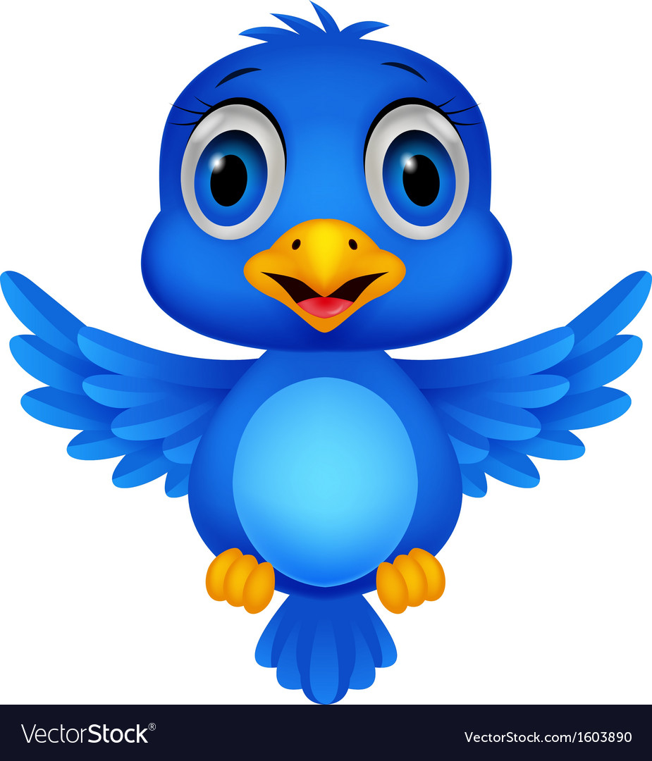 Cute blue bird cartoon vector | Price: 1 Credit (USD $1)