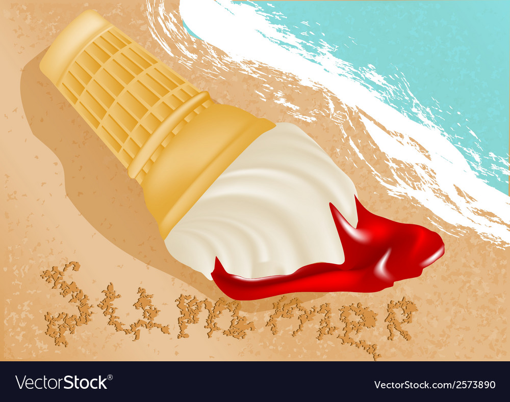 Ice cream on the beach vector | Price: 1 Credit (USD $1)