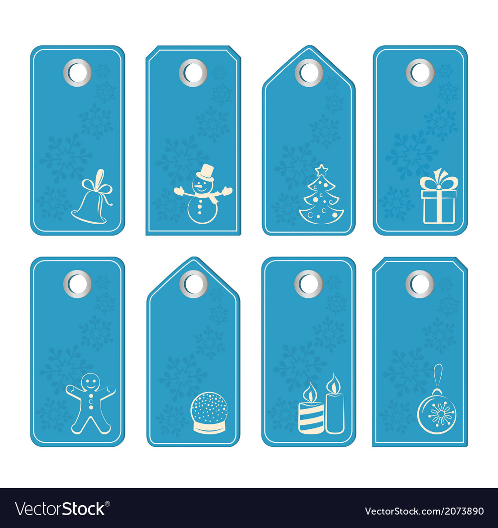 Set of blue tags with white christmas motifs vector | Price: 1 Credit (USD $1)