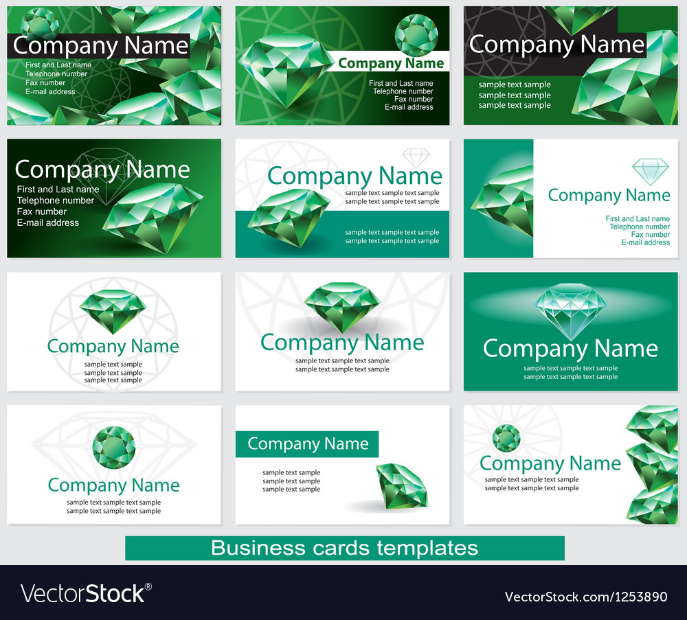 Set of business card template with emerald vector | Price: 3 Credit (USD $3)