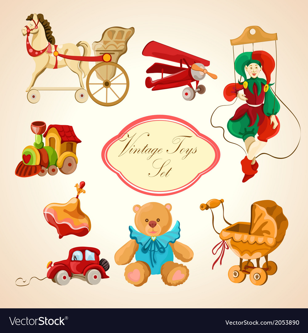 Toys colored drawn icons set vector | Price: 1 Credit (USD $1)
