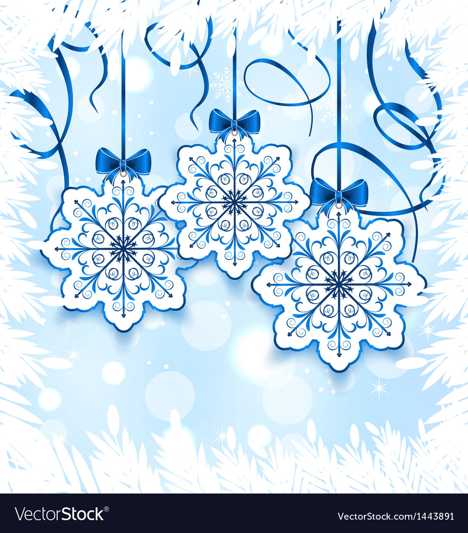 Christmas snowflakes with bow winter decoration vector | Price: 1 Credit (USD $1)