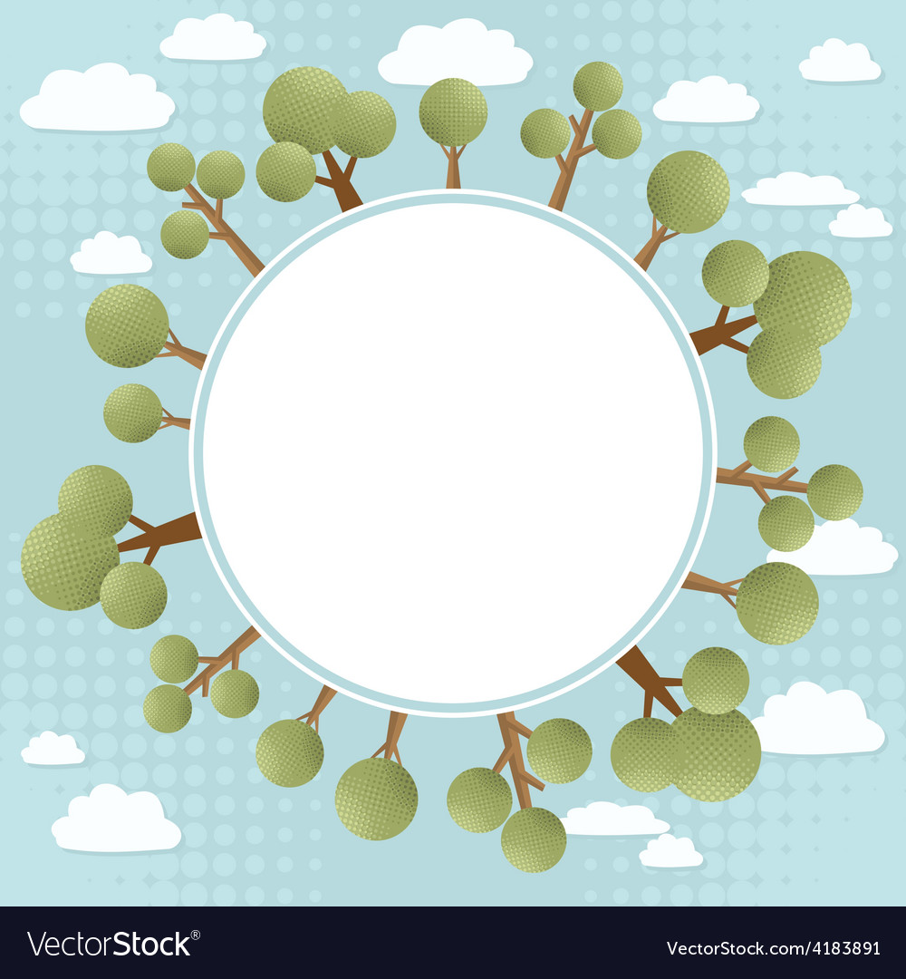 Green trees concept round banner vector | Price: 1 Credit (USD $1)