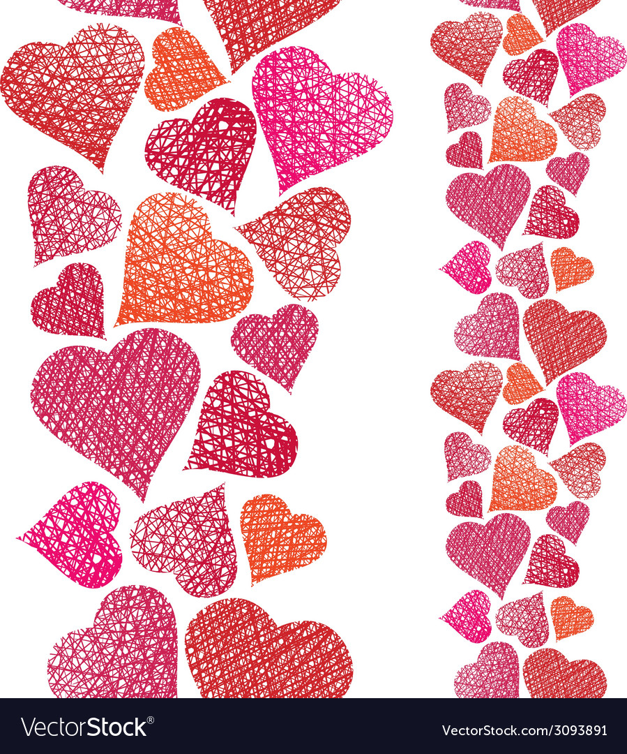Hearts seamless pattern vertical composition love vector | Price: 1 Credit (USD $1)