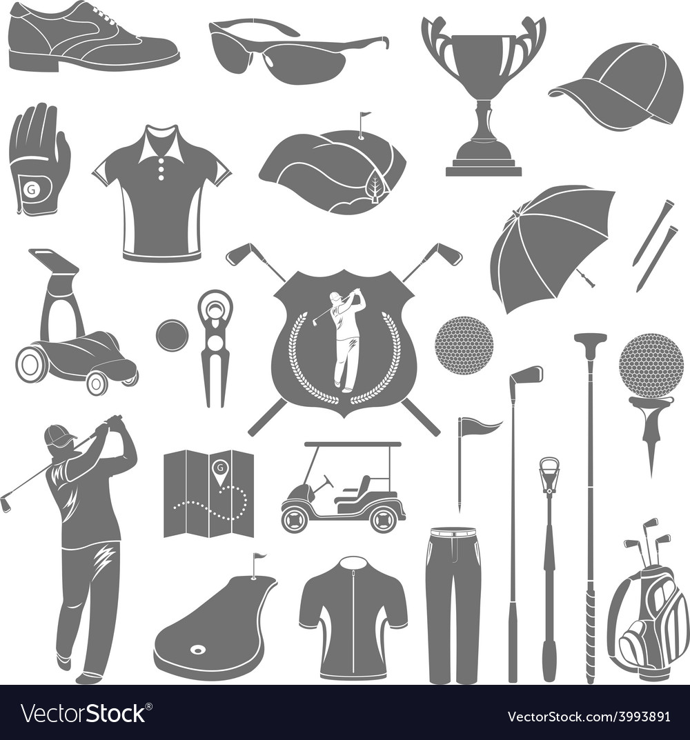 Icons and symbols of golf vector | Price: 1 Credit (USD $1)