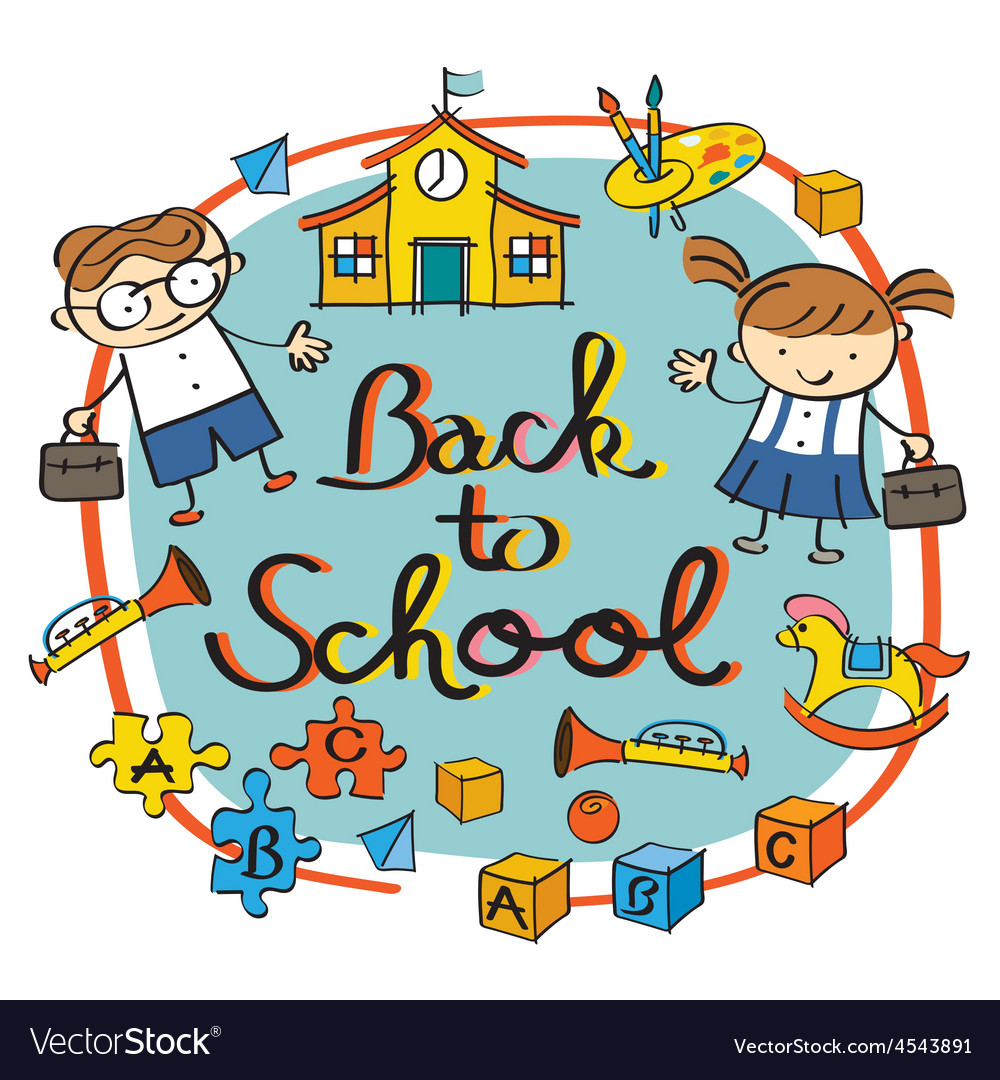 Kids student back to school heading vector | Price: 1 Credit (USD $1)