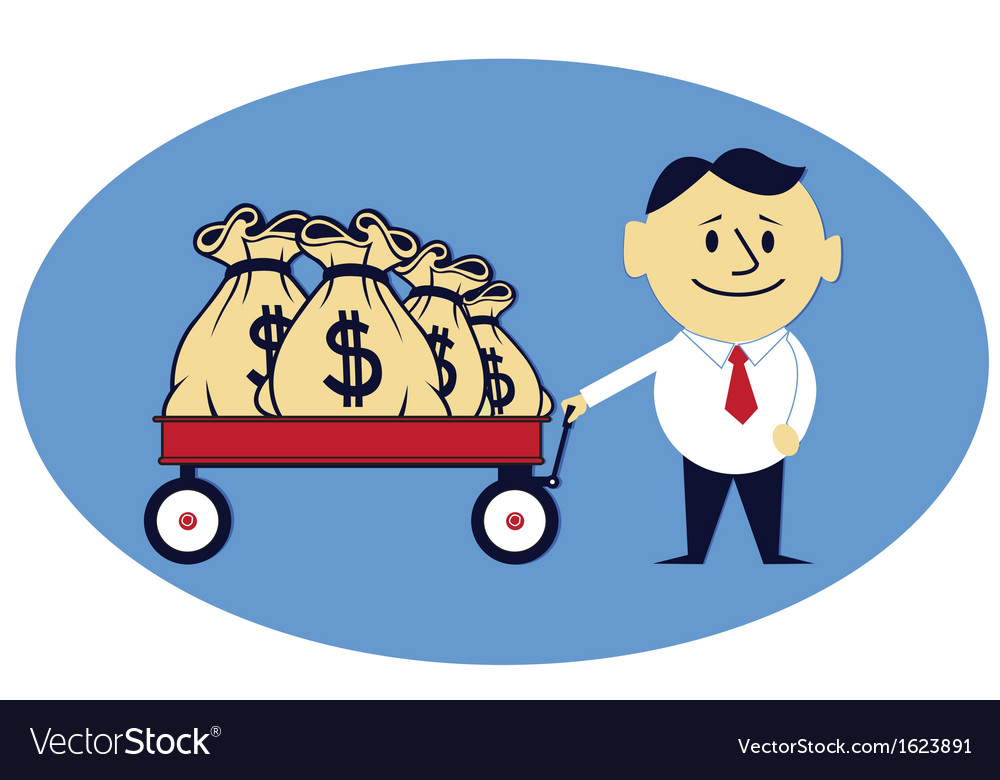 Money bags on the handcart vector | Price: 1 Credit (USD $1)
