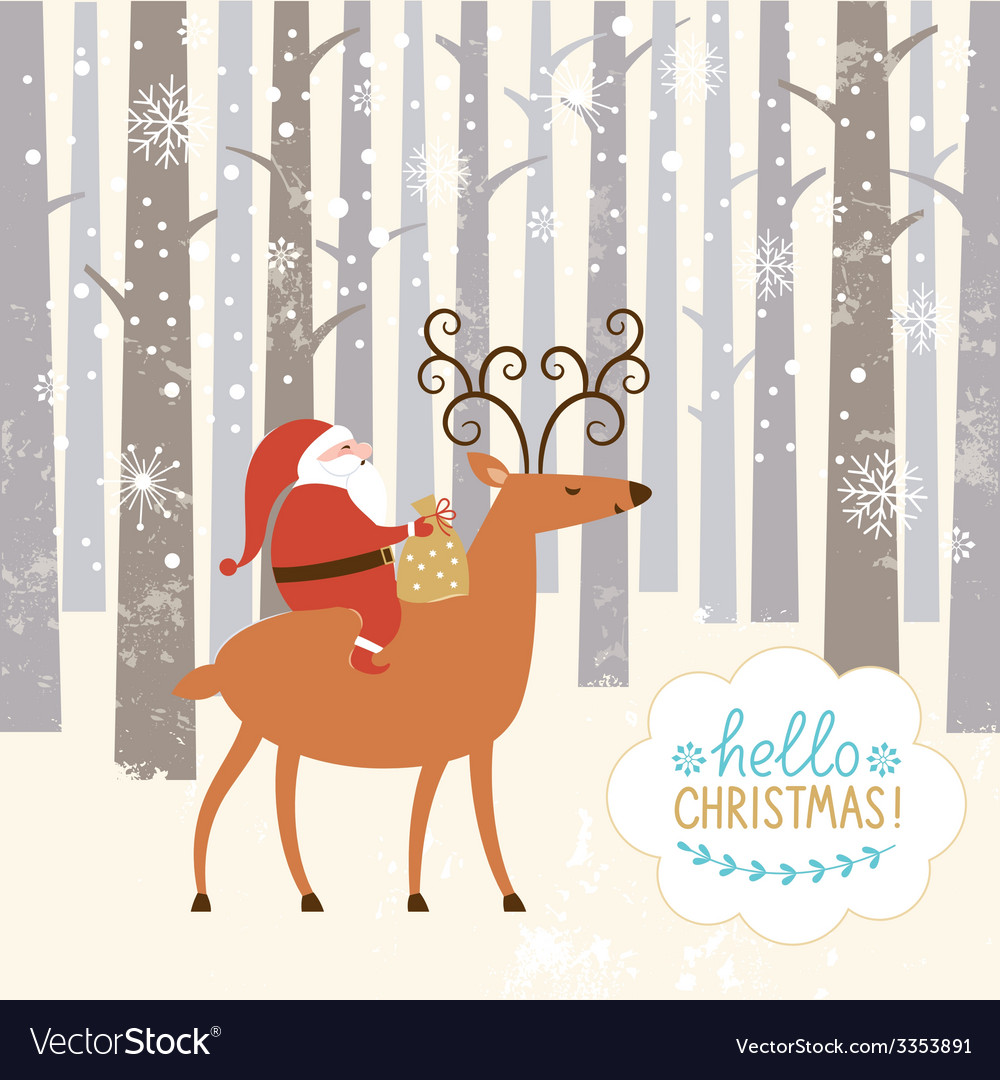 Santa goes on deer vector | Price: 1 Credit (USD $1)