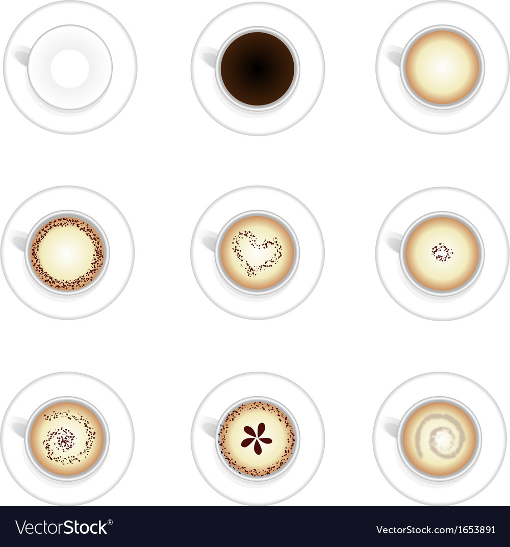 Set of nine hot coffee cups vector