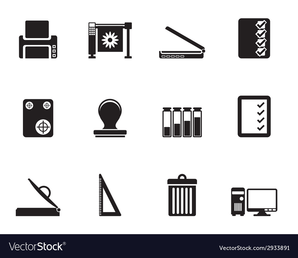 Silhouette print industry icons vector | Price: 1 Credit (USD $1)