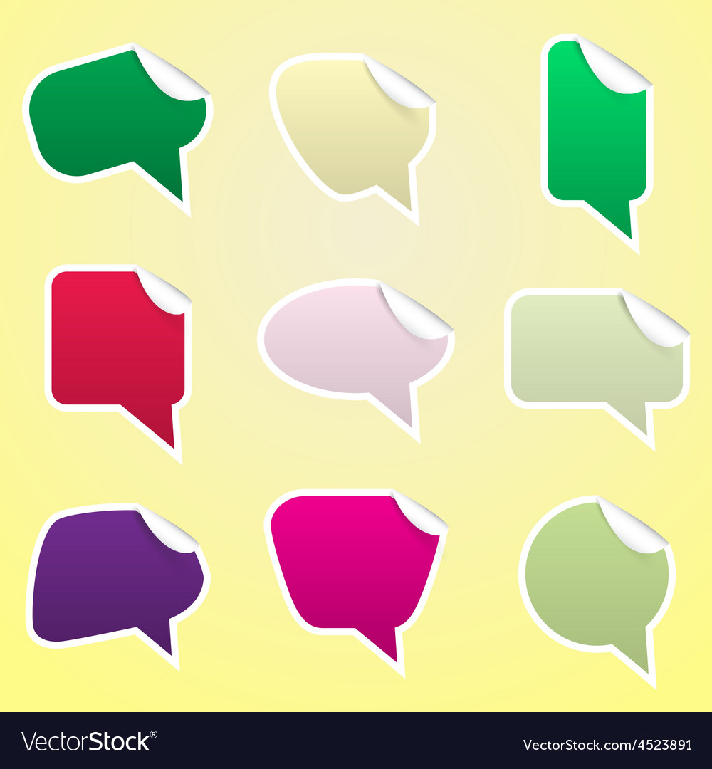Simple color speak bubbles with symbols stickers vector | Price: 1 Credit (USD $1)