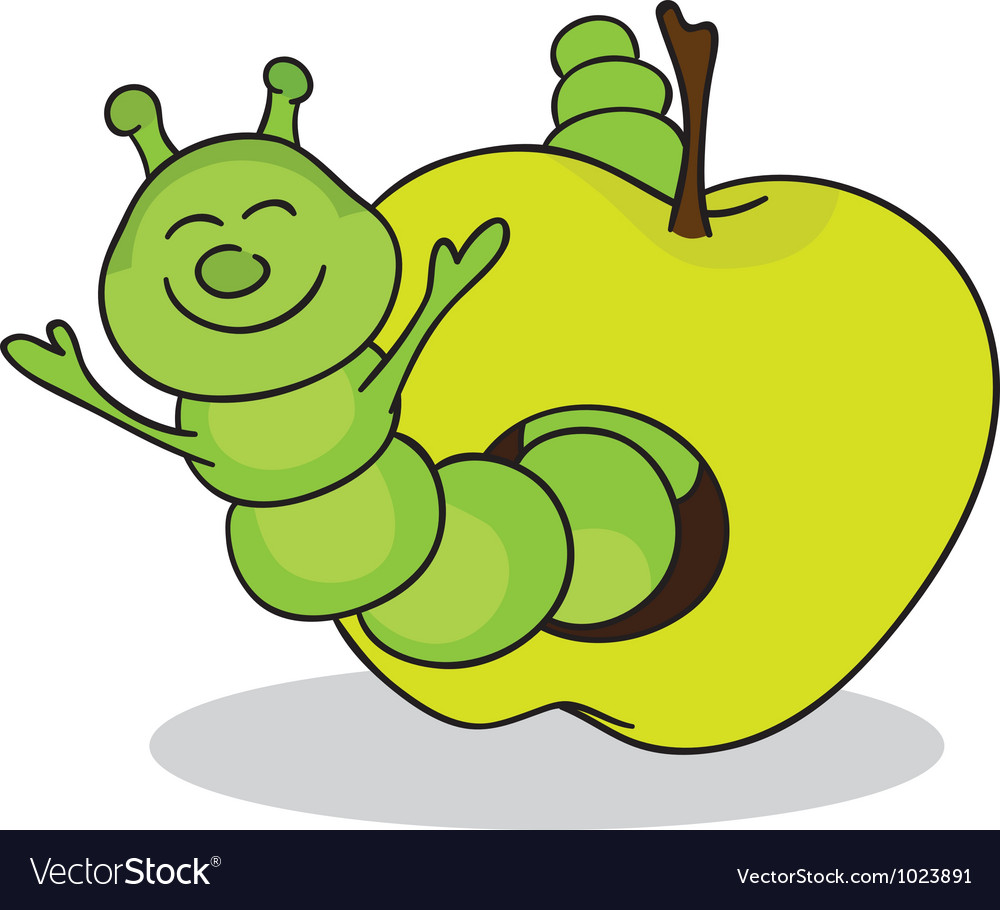 Smiling worm from green apple vector | Price: 1 Credit (USD $1)