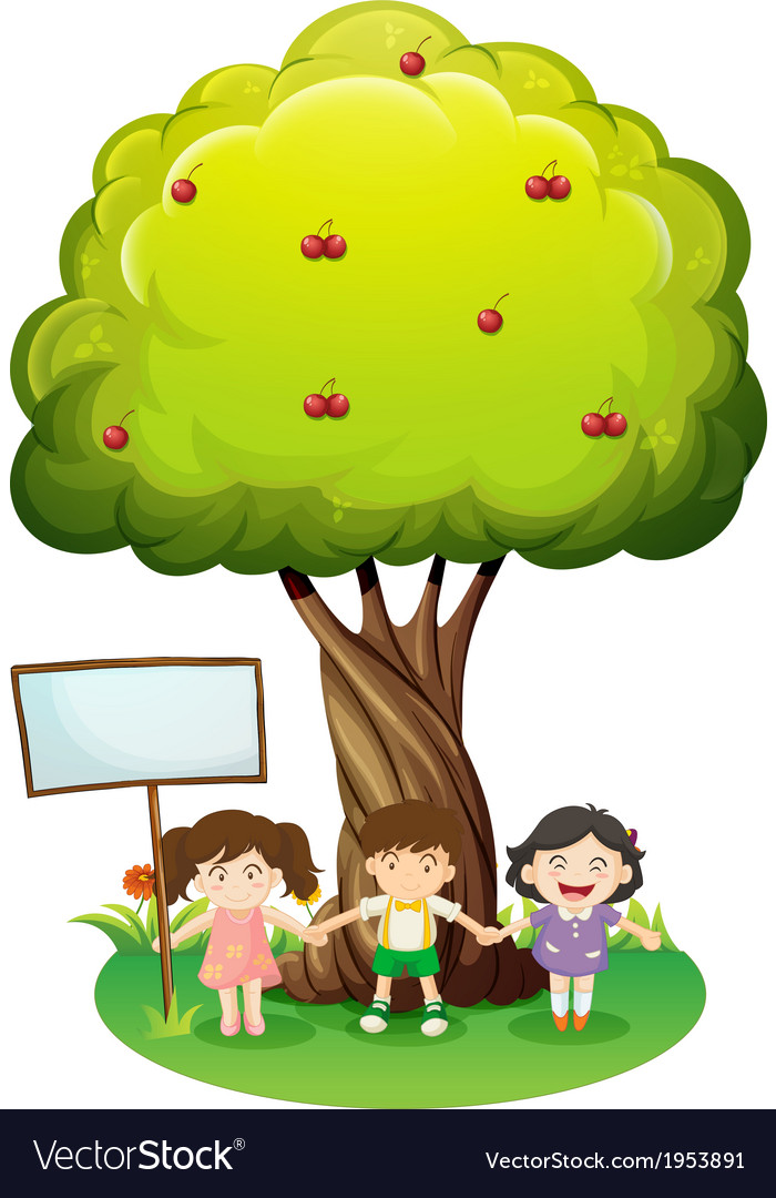 Three kids standing under the tree with an empty vector | Price: 1 Credit (USD $1)