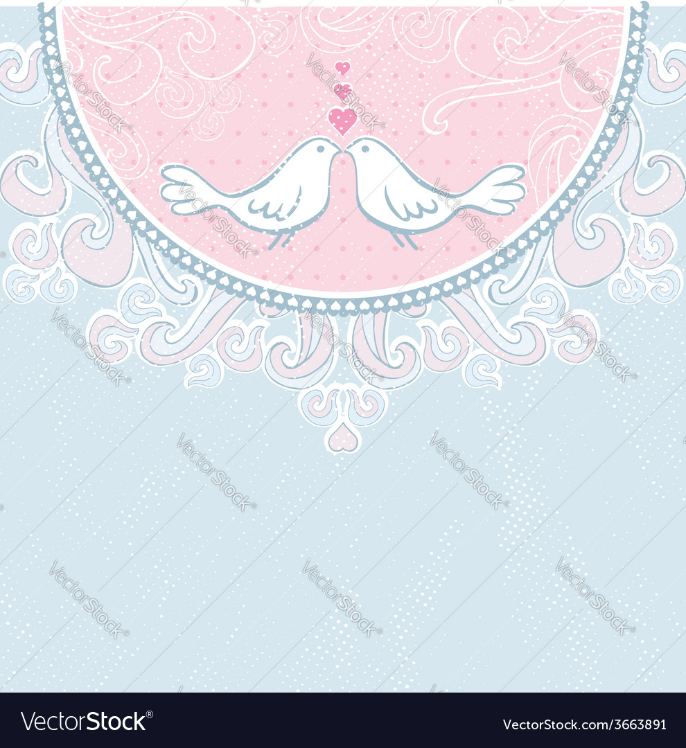 Valentine hand draw doves pink background vector | Price: 1 Credit (USD $1)