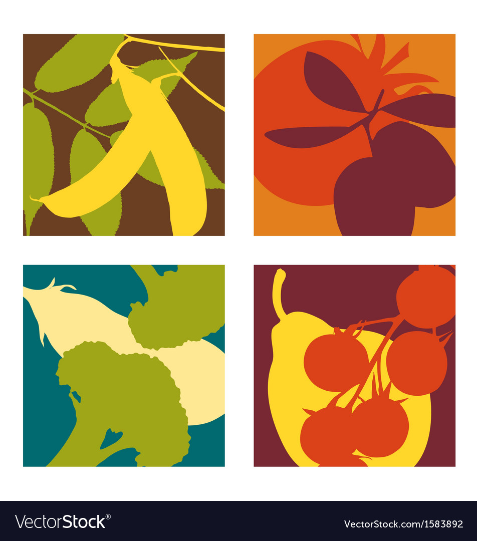 Abstract vegetable designs set 3 vector | Price: 1 Credit (USD $1)