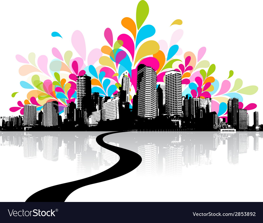 Abstract with city vector | Price: 1 Credit (USD $1)