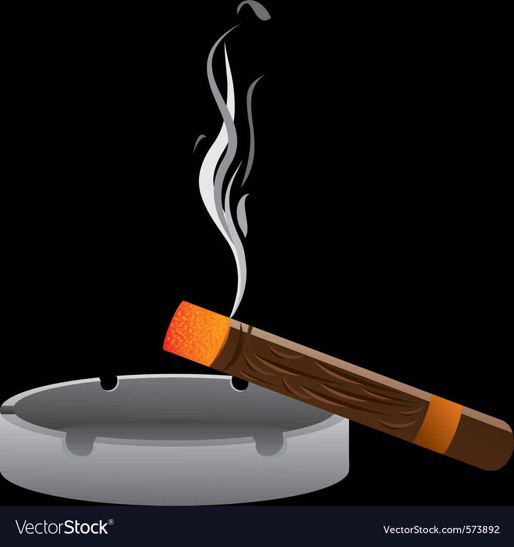 Ashtray with cigar vector | Price: 1 Credit (USD $1)