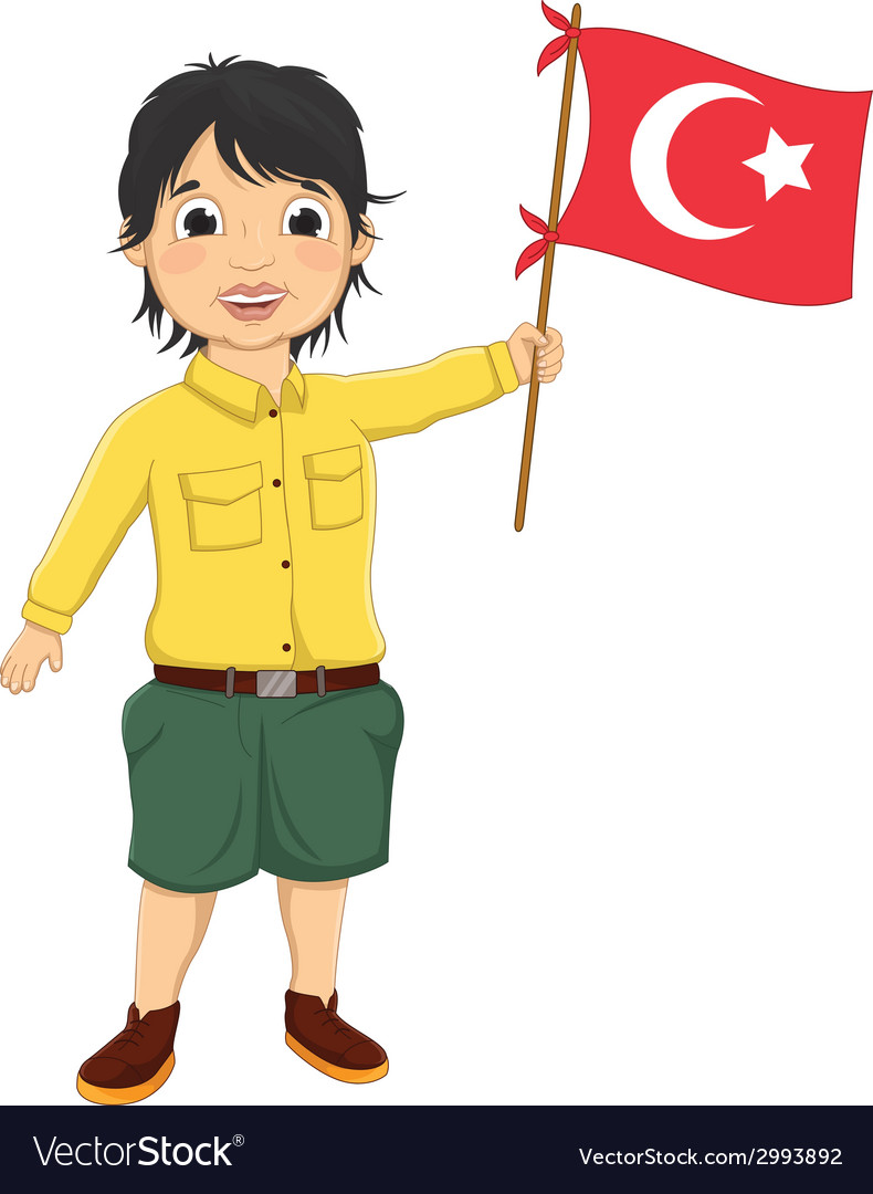Boy with turkish flag vector | Price: 1 Credit (USD $1)