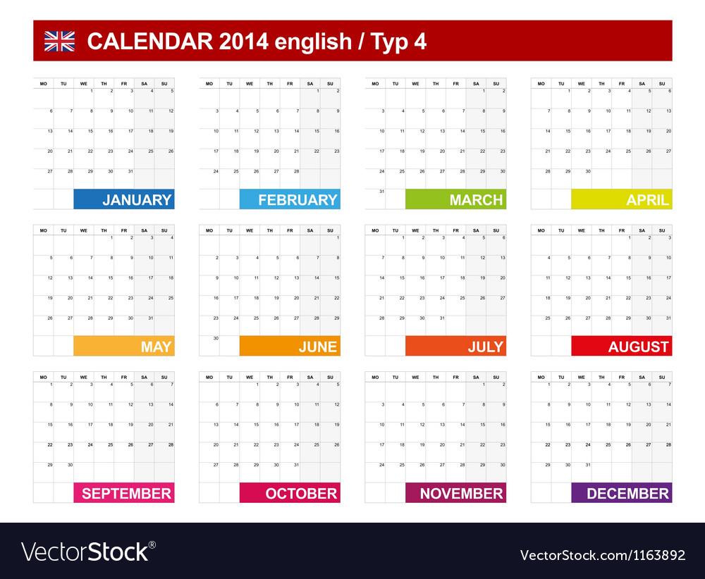 Calendar 2014 english type 4 vector | Price: 1 Credit (USD $1)