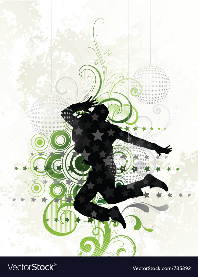 Dancer on floral background vector | Price: 1 Credit (USD $1)