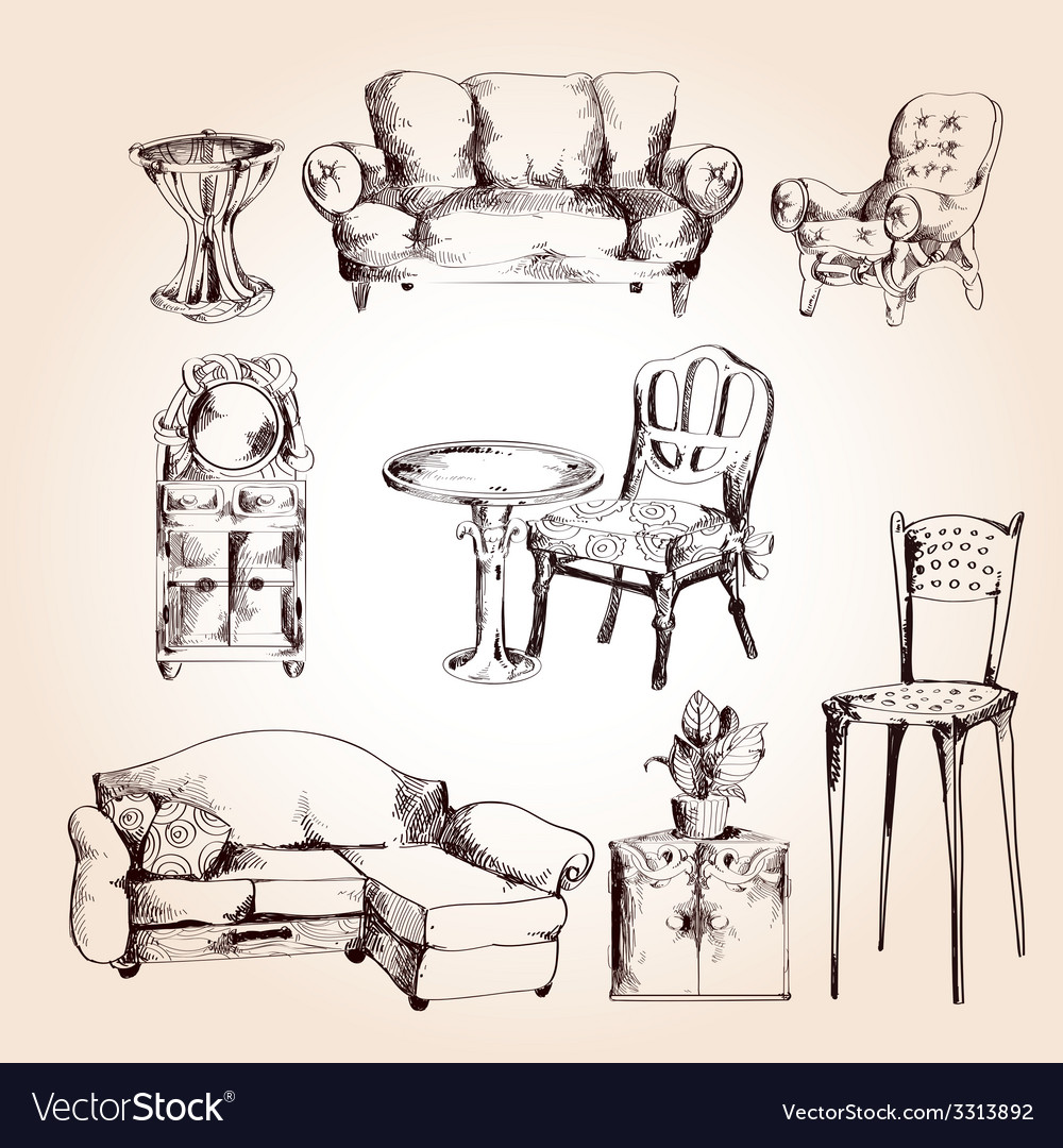 Furniture sketch set vector | Price: 1 Credit (USD $1)