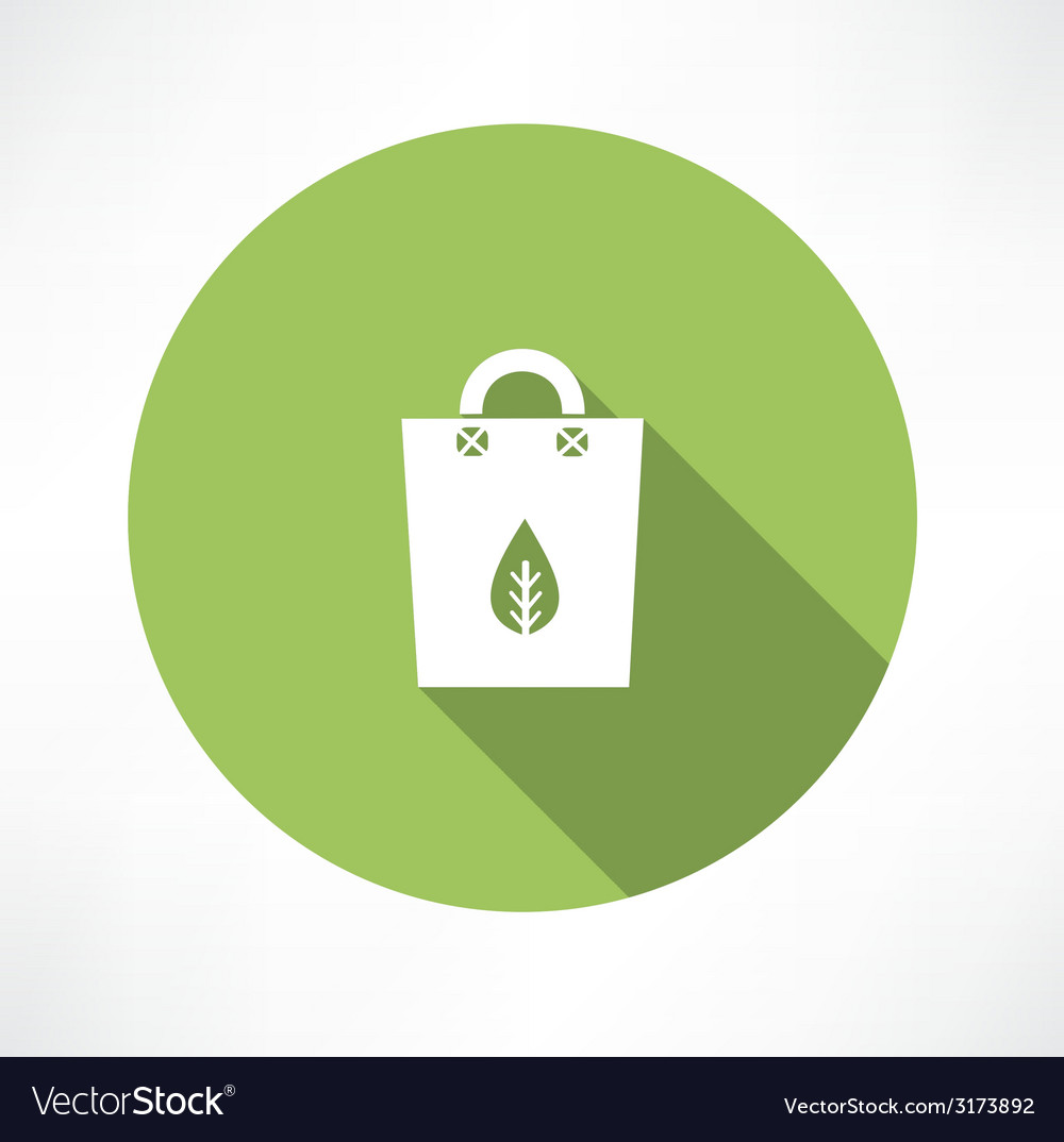 Green bag with paper leaf vector | Price: 1 Credit (USD $1)