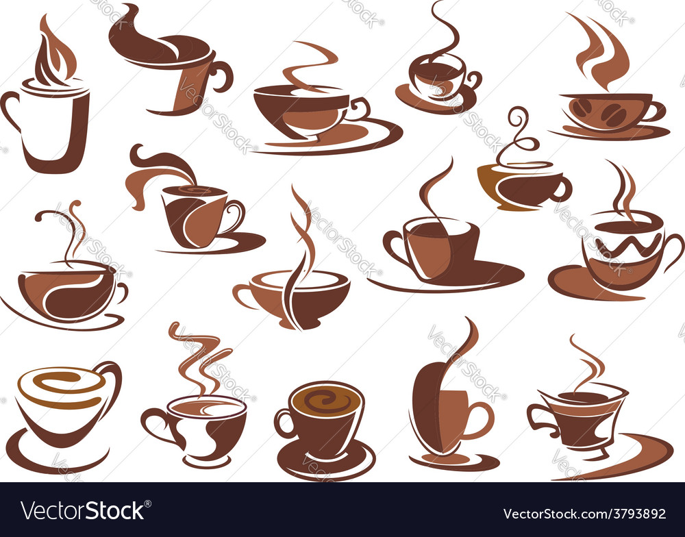 Hot coffee icons and symbols vector   Price: 1 Credit (USD $1)
