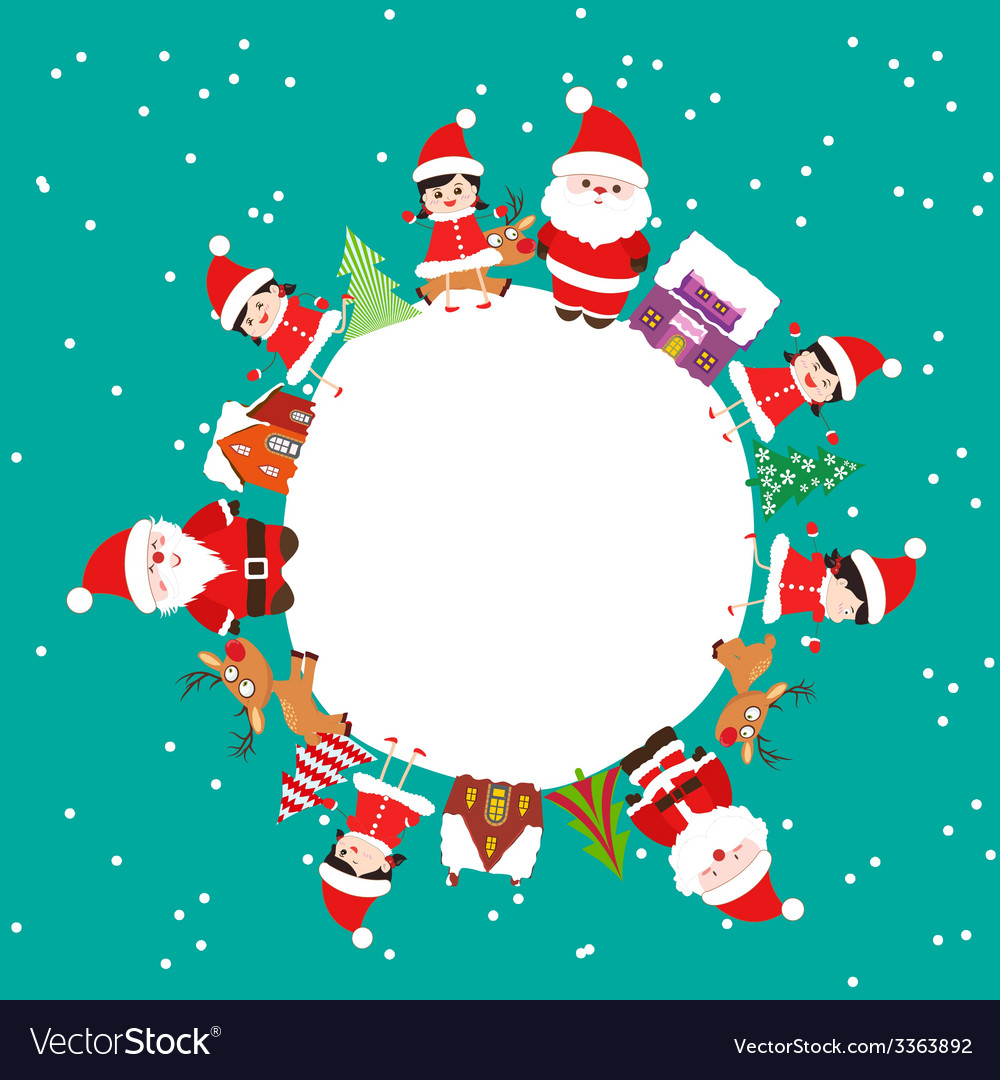 Merry christmas with kids and element on earth vector | Price: 1 Credit (USD $1)