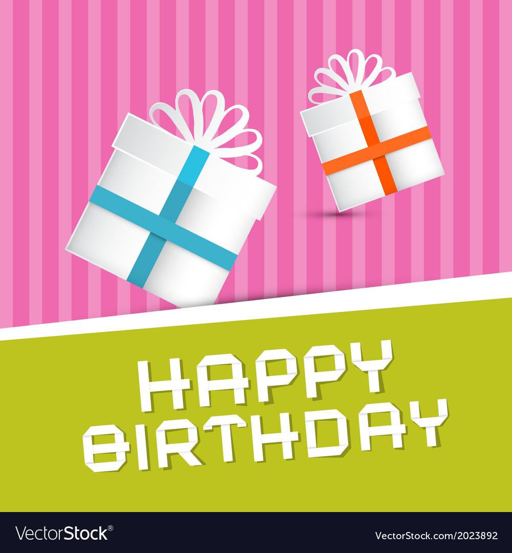 Retro happy birthday theme present boxes on vector | Price: 1 Credit (USD $1)