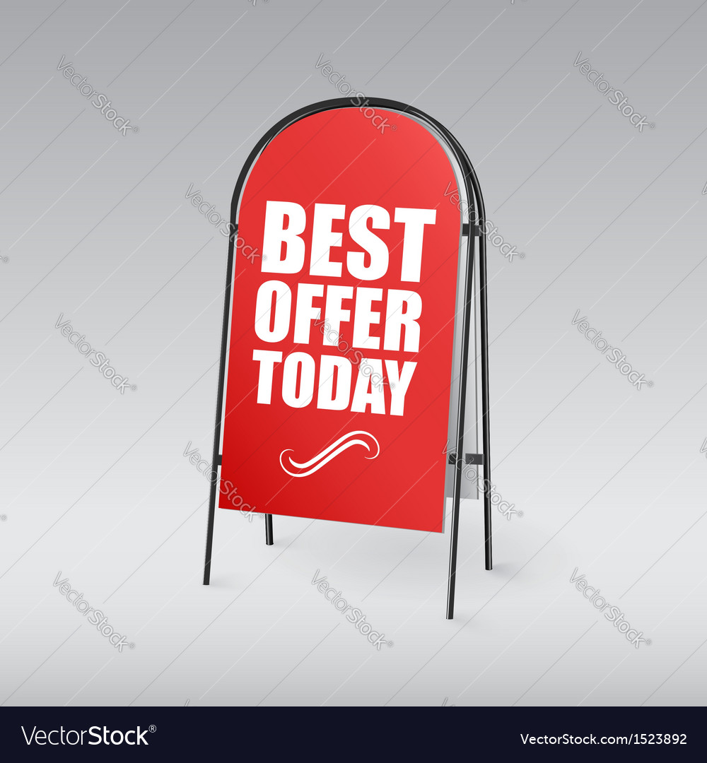 Sandwich board with an inscription best offer vector | Price: 1 Credit (USD $1)